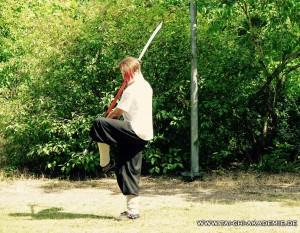 Unser Trainer Jörg Roth mit seiner derzeit favorisierten Waffe. Der Pu Dao