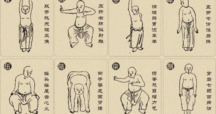 Eine klassische Darstellung der 8 Brokaten Übung, aus dem 12 Jahrhundert
