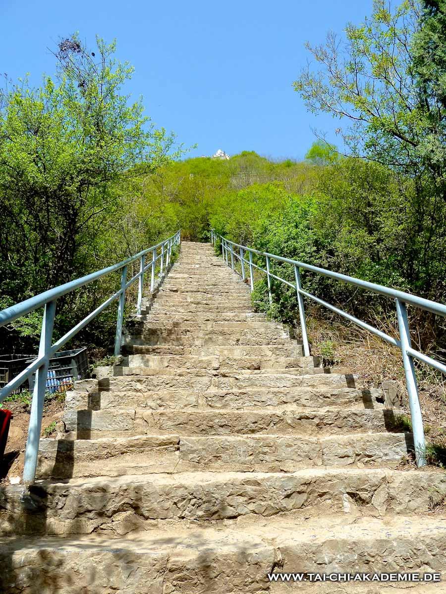 Der Weg zur Bodhidharmahöhle oberhalb des Tempels wie ein Lebensweg. Voller ausgetretener Steiler Stufen und Stolperfallen aber er ist gesäumt von wunderschöner Natur und hat ein hochliegendes Ziel.